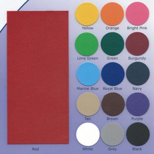Vinyl Colors for Outdoor Padding and Gym Dividers including yellow, orange, bright pink, lime green, green, burgundy, marine blue, royal blue, navy, tan, brown, purple, white, grey and black.