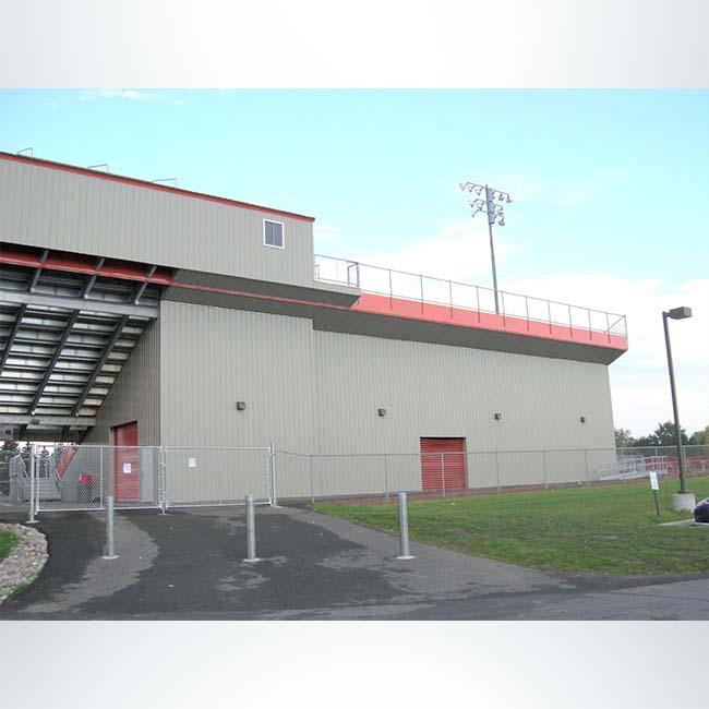 Water tight storage enclosures under stadium.