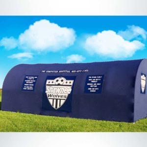 Model #SW1000176. Economy Team Shelter in Navy Blue with Custom Logos.