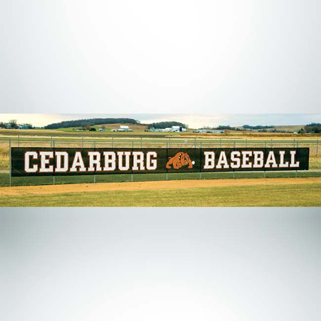 Windscreen with custom logo on baseball stadium fence.