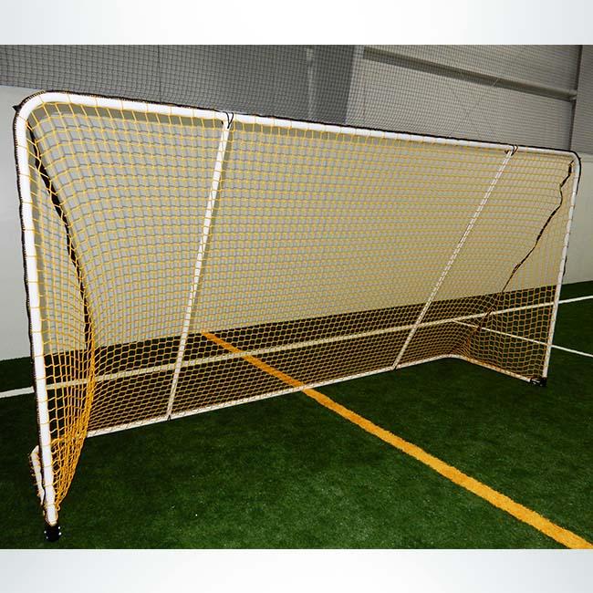 Model #ALUM612. Custom aluminum 6' x 12' folding soccer goals. Powder coated white with yellow net.