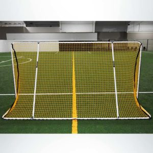 Model #ALUM612. Custom Aluminum 6' x 12' Folding Soccer Goals. Powder Coated White with Yellow Net.