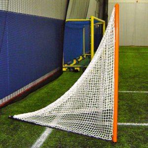 Custom lacrosse goal with lacing bar.