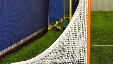 Custom lacrosse goal with lacing bar.