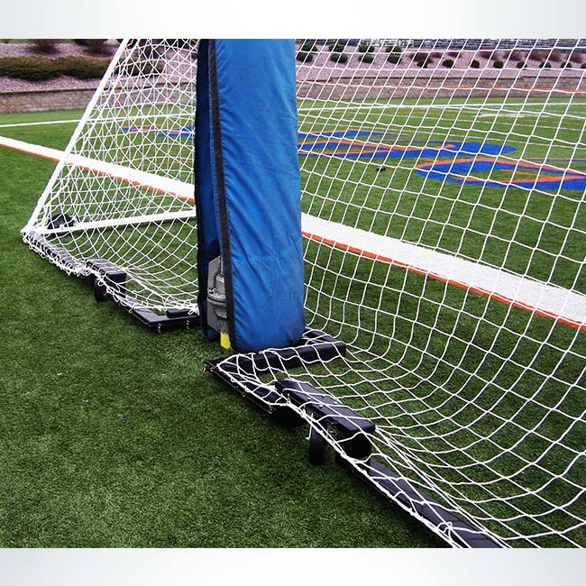 Custom wheeled soccer goal to fit in front of football goalpost.