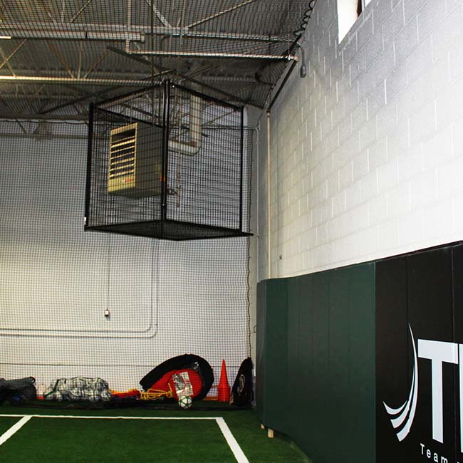 Furnace cage at an indoor soccer facility.