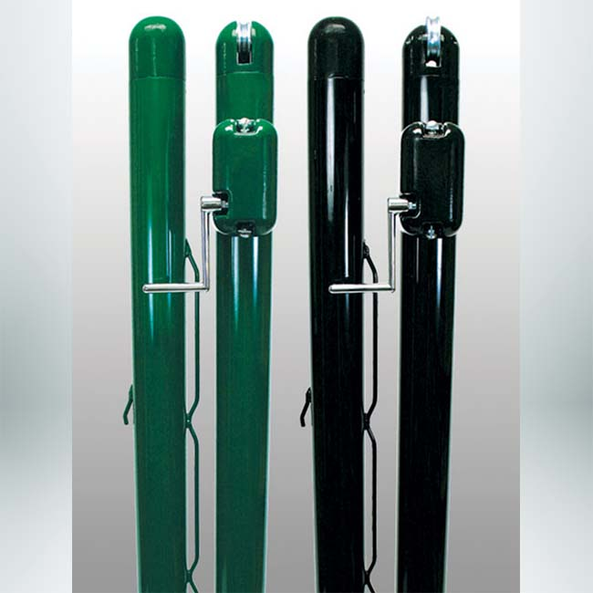 Model #KGDTP37. 3inch Round Tennis Posts Green and Black.