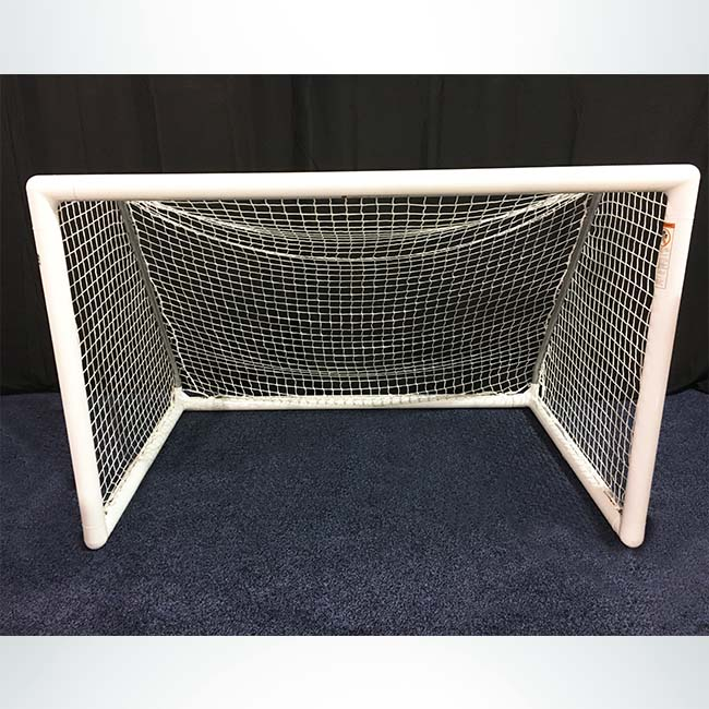 """Model #MSGC3RD46. 3"""" round 4' x 6' soccer goal. Channel net attachment."""