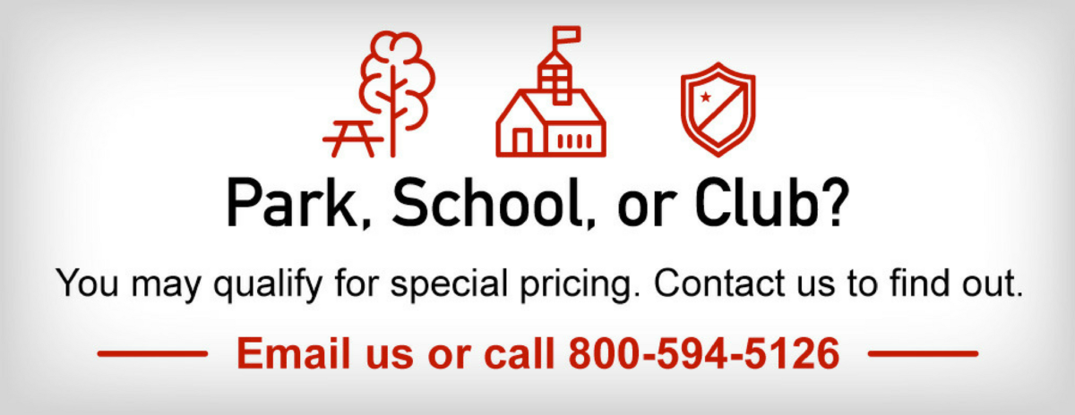 Purchasing athletic facility equipment for a school, club or park district? You may qualify for discount pricing. Contact Keeper Goals at 800-594-2156 to find out.