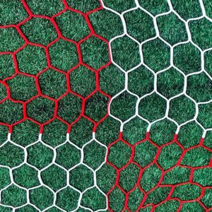"3mm 4"" hexagon mesh red and white checkered net."