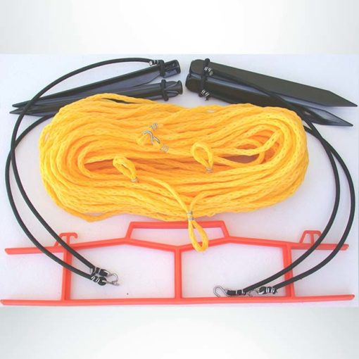Model #KSB1025S. Yellow volleyball rope court boundary kit for sand.