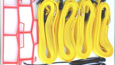 "Model #KSB. 2"" adjustable sand volleyball court boundary kit in yellow."