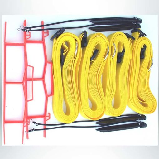 """Model #KSB. 2"""" adjustable sand volleyball court boundary kit in yellow."""
