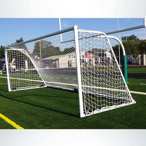 Model #M88WRD824. 8' x 24' ultimate wheeled soccer goal. Green football post pad.