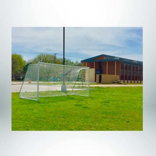 Movable aluminum soccer goal.