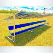 Covered Athletic Team Bench with custom colored royal blue bench and custom logo.