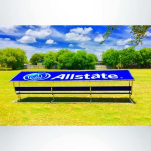 Covered Athletic Team Bench with royal blue vinyl cover with custom logo. Custom royal blue bench.