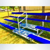 Movable 3 Row Bleachers with Backrest and Aisle. Powder Coated Blue.