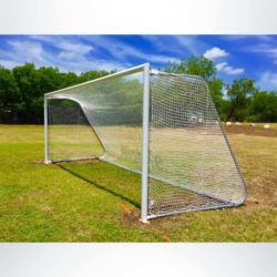 Model #MAL824. 8x24 Movable Aluminum Soccer Goal with Logo on Net.