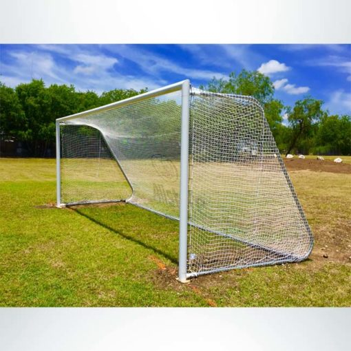 Model #MAL824. 8' x 24' movable aluminum soccer goal with logo on net.