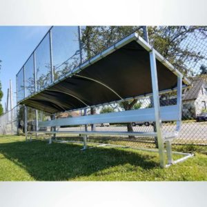 Covered athletic team bench. Aluminum 21' bench with vinyl cover.