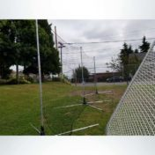 Portable Back-Up Net on Soccer Field.