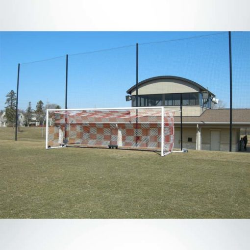 Back-up net behind Wheeled Stadium Cup goal with red and white checkered net.