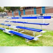 3 Row Bleacher with Custom Logo on Backrest.