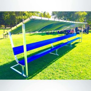 Covered Athletic Team Bench with custom royal blue bench.