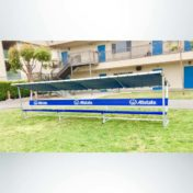 Covered Athletic Team Bench with custom logo on bench cover and bench. Custom royal blue bench.