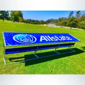Covered Athletic Team Bench with custom logo cover and custom colored royal blue bench.