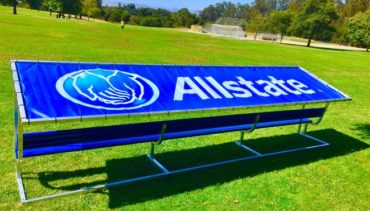 Covered Athletic Team Bench with Custom Logo Cover.