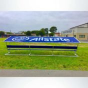 Covered Athletic Team Bench with custom Logo.