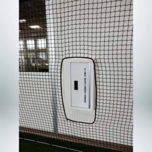 Froedart Rehab Facility Barrier Netting Cutout for Fire Extinguisher.