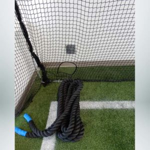 Froedart Rehab Facility. Protective Netting for Athletic Facility with Cutout for Ropes.