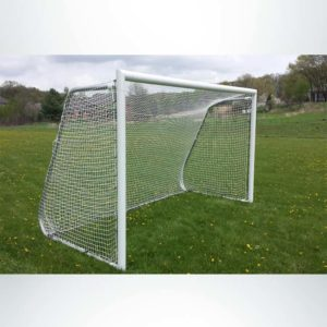 Model #612PC. 6' x 12' movable aluminum soccer goal with cable net attachment.