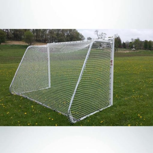 Model #612PC. 6' x 12' movable aluminum soccer goal with cable net attachment. Back of goal.