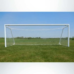"""Model #MAL66186PC. Movable aluminum soccer goal with cable net. 6'6"""" x 18'6""""."""