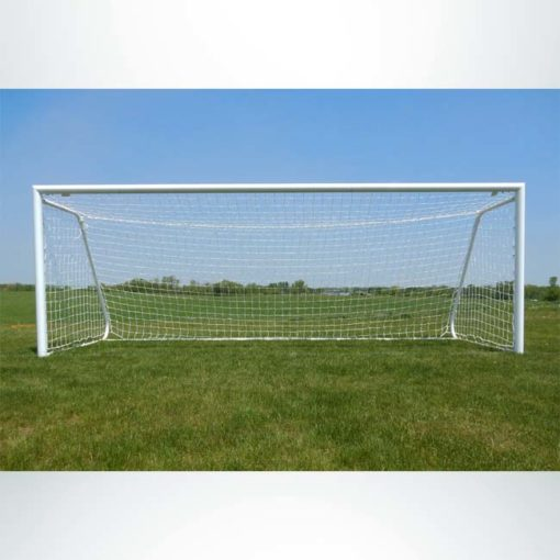 "Model #MAL66186PC. Movable aluminum soccer goal with cable net. 6'6"" x 18'6""."