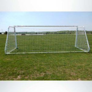 """Model #MAL66186PC. Movable aluminum soccer goal with cable net. 6'6"""" x 18'6"""". Back of goal."""