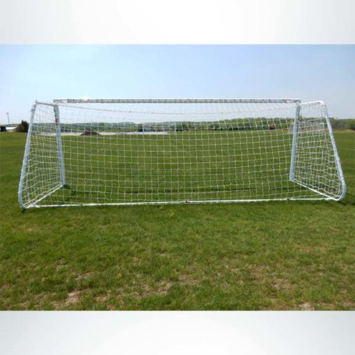 "Model #MAL66186PC. Movable aluminum soccer goal with cable net. 6'6"" x 18'6"". Back of goal."