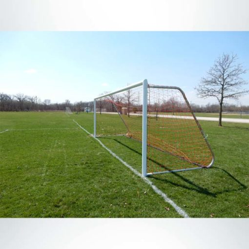 Model #MAL721PC. 7' x 21' movable aluminum soccer goal with cable net attachment.