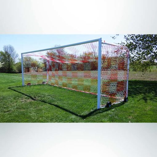 Model #MAL824PC. Movable aluminum soccer goal with cable net attachment. 8' x 24'. Red and white checkered net.
