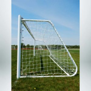 """Model #MAL66186PC. Movable aluminum soccer goal with cable net attachment. 6'6"""" x 18'6""""."""