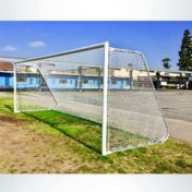Soccer Net with Custom Logo on Movable Aluminum Soccer Goal.