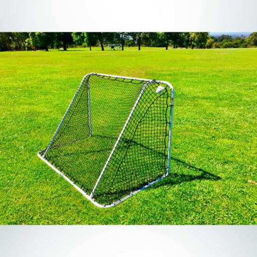 Model #SS64LS. 6' x 4' steel soccer goal with net. Powder coated white.