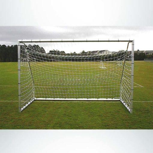 "Model #ECSG3RD612. 3"" round 6' x 12' aluminum soccer goal. Powder coated white. Bungee net attachment."