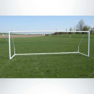 """Model #ECSG3RD721. 3"""" round 7' x 21' aluminum soccer goal. Powder coated white. Bungee net attachment. Shown without net"""