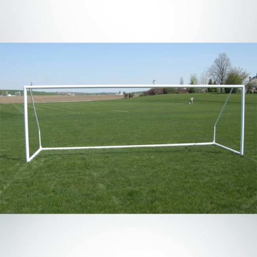 "Model #ECSG3RD721. 3"" round 7' x 21' aluminum soccer goal. Powder coated white. Bungee net attachment. Shown without net"