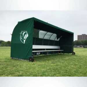 Model #SW1000. Forest Green Economy Team Sideline Shelter with Wind Flaps and Logo.